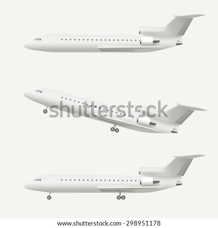 Airplane isolated on white. Realistic vector illustration of airplane taking off and flying plane. - stock vector