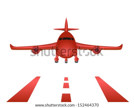 airplane landing - stock vector