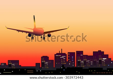 Airplane Landing at Evening City Airport