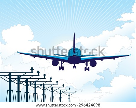 Airplane landing vector - stock vector