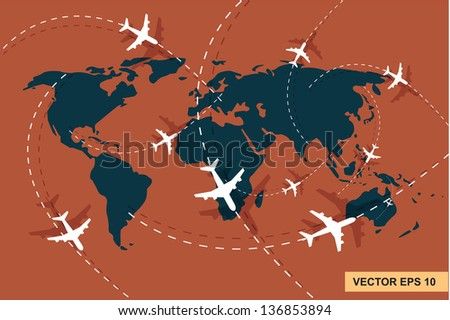 airplane line on the world map  vector