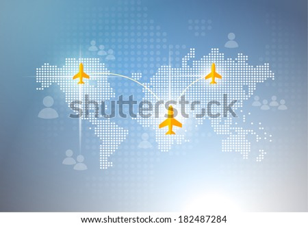 airplane map - stock vector