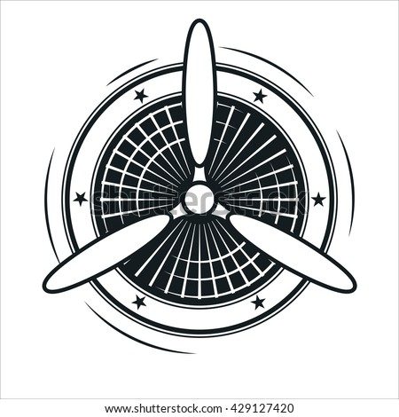Airplane propeller on engine white background