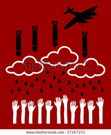 Airplane pull down bombs over helpless people - stock vector