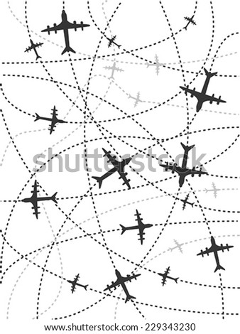 airplane routes background - stock vector