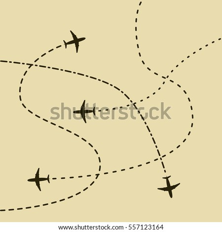Airplane routes concept background. Vector illustration in retro - vintage style.