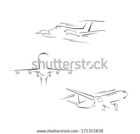 Airplane Set Collection - stock vector