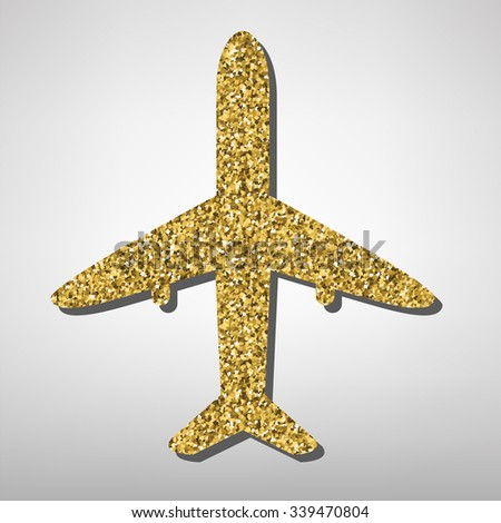 Airplane sign illustration. Golden icon - stock vector
