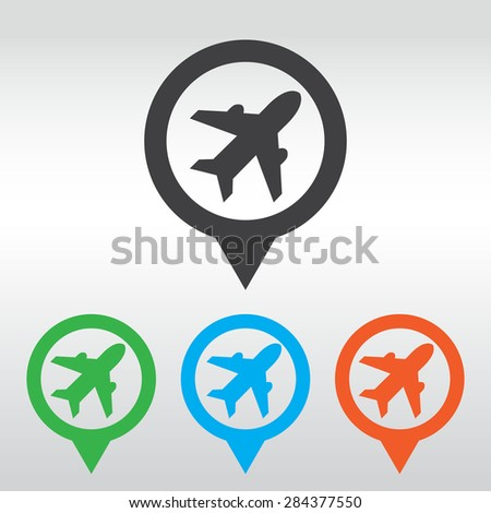 Airplane sign. Plane symbol. Travel icon. Flight flat label.  icon map pin. - stock vector