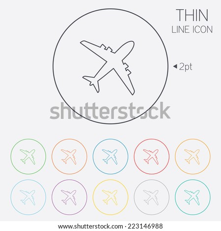 Airplane sign. Plane symbol. Travel icon. Flight flat label. Thin line circle web icons with outline. Vector - stock vector