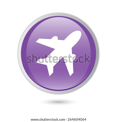 Airplane sign. Plane symbol. Travel icon. Flight flat label. violet glossy button. - stock vector