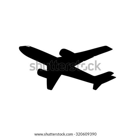 airplane silhouette - stock vector
