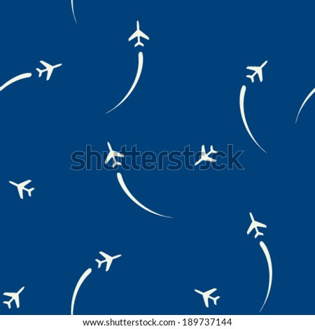 airplane silhouette seamless pattern - stock vector