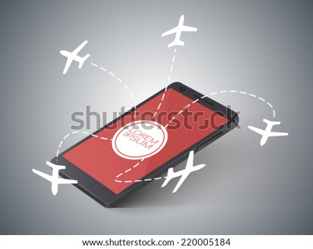 airplane silhouettes fly out of the screen of a cell phone - stock vector