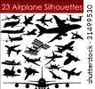 Airplane silhouettes in vector art - stock photo