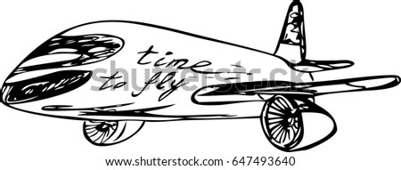 airplane sketch calligraphy vector