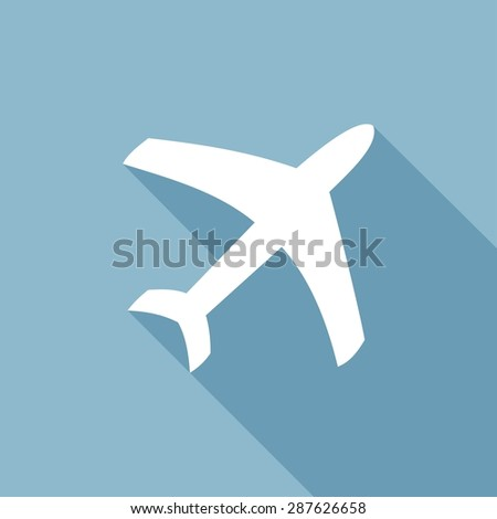 airplane symbol with a long shadow - stock vector