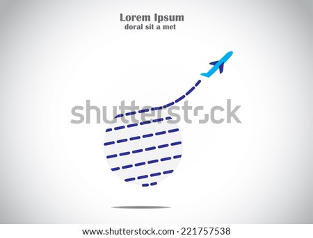 airplane take off flying up from earth global air travel concept illustration. a blue aeroplane silhouette fly upwards into the bright white sky from the planet earth - stock vector