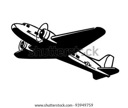 Airplane Taking Flight - Retro Clipart Illustration - stock vector