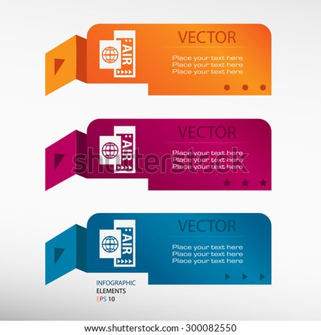 Airplane ticket icon on origami paper banners. Can be used for workflow layout, diagram, business step options, banner, web design - stock vector