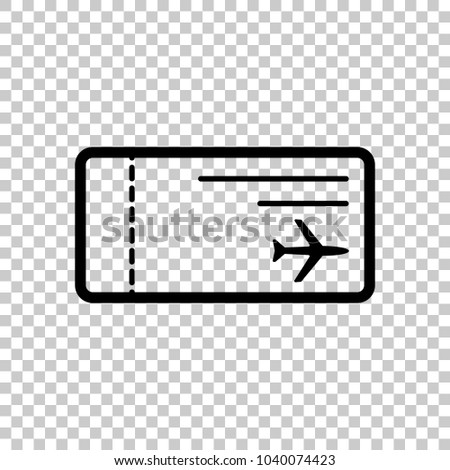Airplane Ticket Icon On Transparent Background