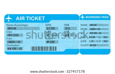 Airplane ticket isolated on white background. Detailed blank of airplane ticket. Vector illustration. - stock vector
