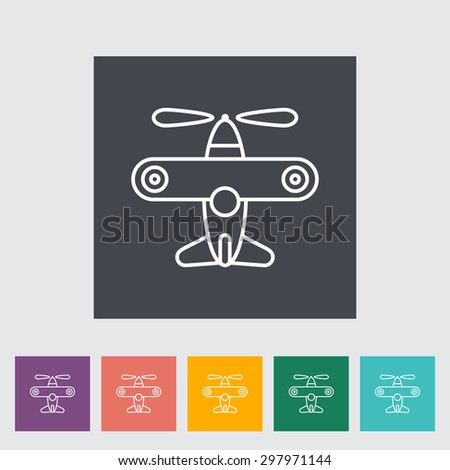 Airplane toy thin line flat vector related icon set for web and mobile applications. It can be used as - logo, pictogram, icon, infographic element. Vector Illustration.  - stock vector