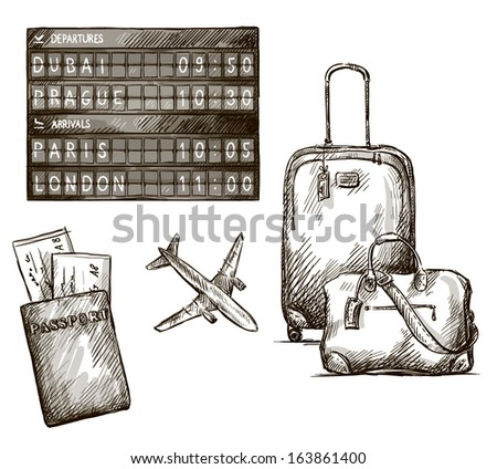 Airplane travel doodles. Hand drawn. vector illustration. - stock vector