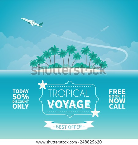 Airplane travel or tropical voyage vector concept in flat style - stock vector