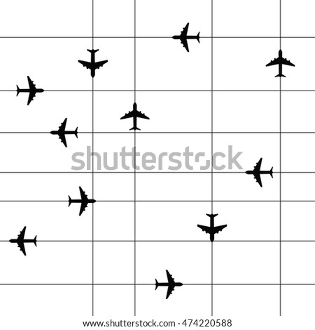 airplane travel paradise set with line illustration in black color