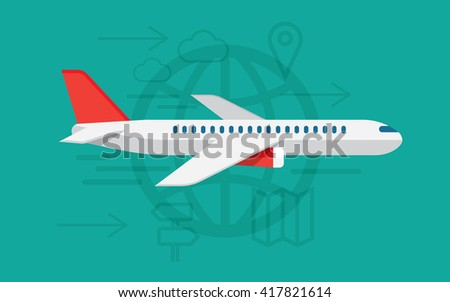 airplane travelling, commercial airplane flight journey, tourist vacation trip on airline transportation. Modern vector illustration concept - stock vector