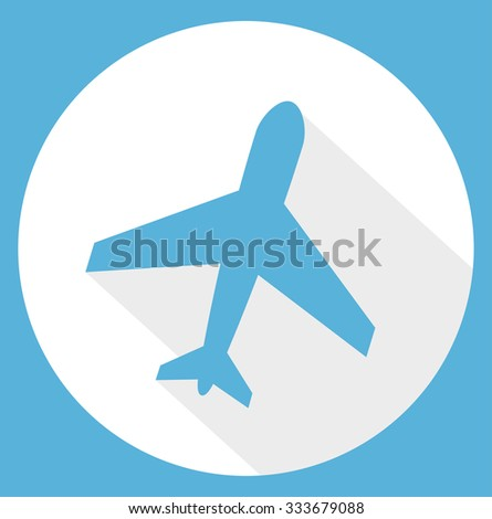 Airplane trendy icon. Plane sign on a blue circle button. Flat style, long shadow design. Travel symbol / flight label - vector art image illustration, isolated on white background - stock vector