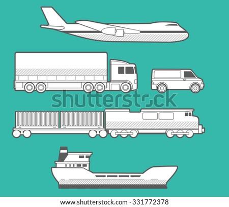 Airplane, truck, car, ship, train. Vector set transportation  illustration for business, infographic, web, banner, presentations. - stock vector