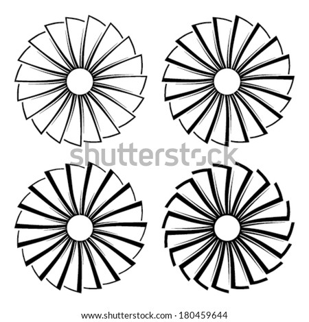 airplane turbine icon set - stock vector