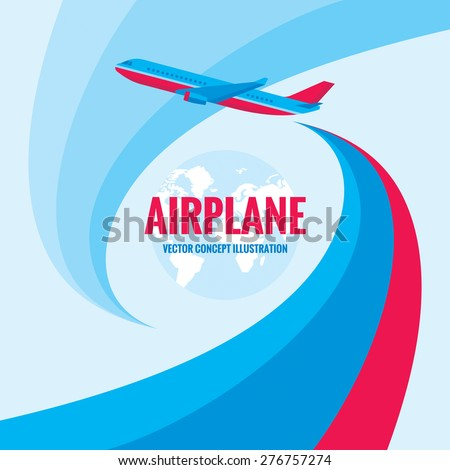Airplane - vector concept illustration with abstract background. Airplane silhouette illustration for transportation or travel company. Design elements. - stock vector