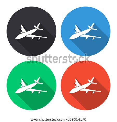 Airplane vector icon - colored(gray, blue, green, red) round buttons with long shadow - stock vector