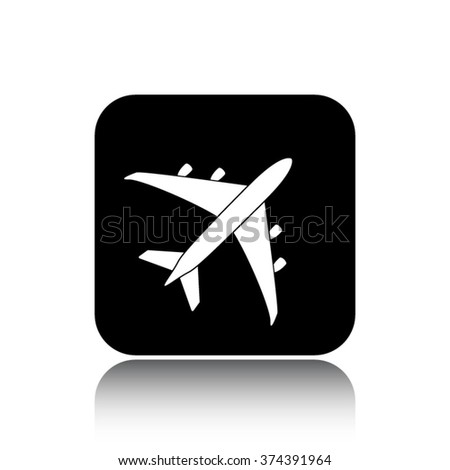 airplane vector icon on black button with reflection - stock vector