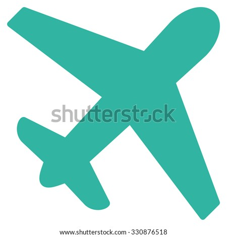 Airplane vector icon. Style is flat cyan symbol, rounded angles, white background.