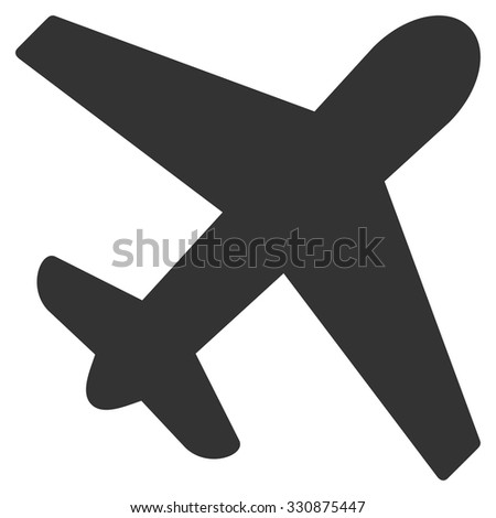 Airplane vector icon. Style is flat gray symbol, rounded angles, white background.