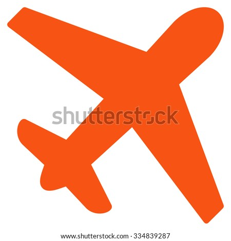 Airplane vector icon. Style is flat orange symbol, rounded angles, white background.