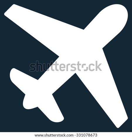 Airplane vector icon. Style is flat white symbol, rounded angles, dark blue background.