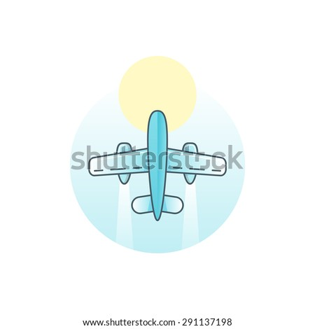 Airplane - vector logo concept illustration. Vector logo template. Aircraft sign for transportation or travel company. Travel agency logo. Line art sign. Design elements. - stock vector