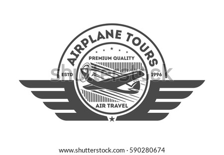 Airplane vintage isolated label vector illustration. Wind riders show and best pilot symbols. Airplane academy and flying club sign. Air travel and plane tours logo. Airplane shool logo template