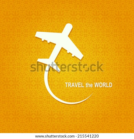 Airplane White Symbol. Travel Concept Card - stock vector