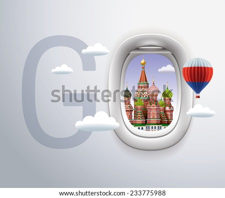 Airplane Window,Exclusive,Travel,Moscow,St. Basil's Cathedral, russia - stock vector