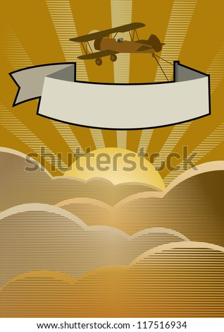 Airplane with banner at sunrise - stock vector