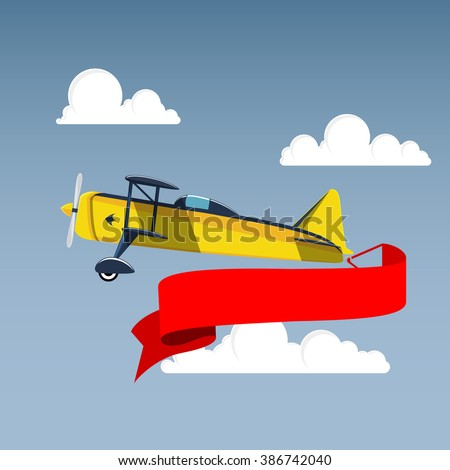 Airplane with banner in the sky - stock vector
