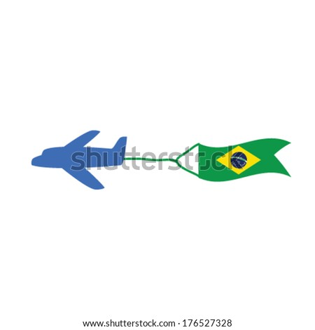 airplane with brasil flag color vector illustartion - stock vector