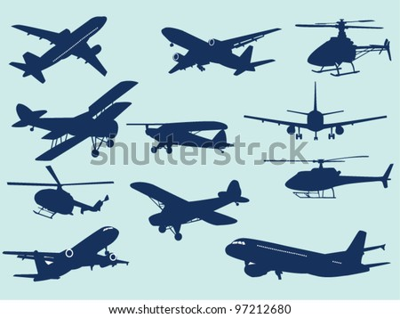 Airplanes and helicopters - stock vector