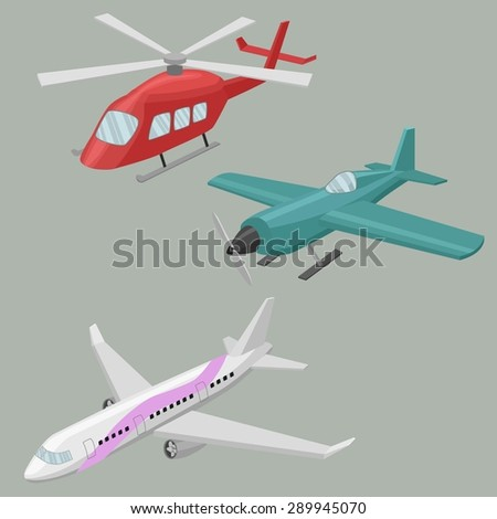 Airplanes and helicopters vector image design set.